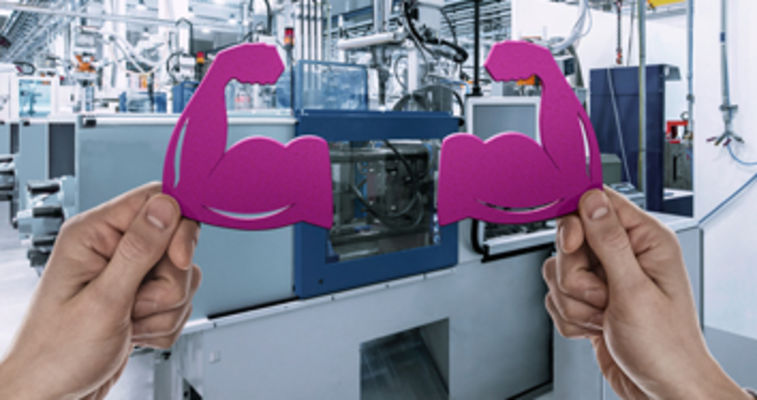 dynavis injection molding key visual with hand holding muscle icon next to injection molding machinery