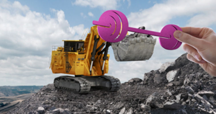 dynavis mining key visual with a hand holding a bar bell on a loader